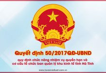 Quyết định 50/2017QĐ-UBND tỉnh Hà Tĩnh