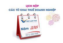 Lịch nộp các loại tờ khai thuế DN năm 2018