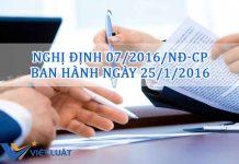 Nghị định 07/2016/NĐ-CP ban hành ngày 25/1/2016