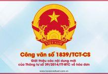 Công văn 1839/TCT-CS