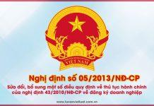 Nghị định số 05/2013/NĐ-CP