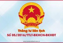 Thông tư liên tịch số 05/2016/TTLT-BKHCN-BKHĐT